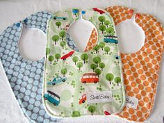 Trio of Minky Baby Bibs in Cars and Dots
