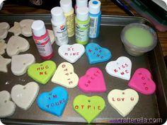 Salt dough conversation heart ornaments
