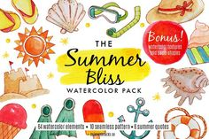 The Summer Bliss Watercolor Pack Graphics Hi there!Here you gooo! A cheerful and vibrant watercolor pack to bright up your summer!It consi by knickknacks.co