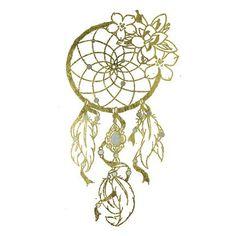 Gold Metallic Dream Catcher with Flowers