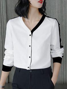 White Long Sleeve Color-block Buttoned Blouse – Plus Size Fashion Blouse Styles, Blouse Designs, Casual Dresses, Fashion Dresses, Beach Dresses, Diy Fashion, Fashion Ideas, Casual Outfits, Vetement Fashion