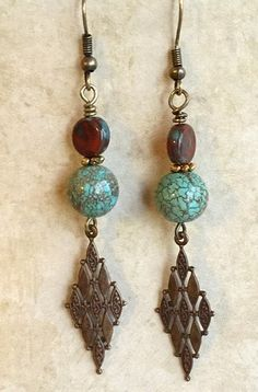 Turquoise Dangle Earrings, Boho Brass Earrings. Bohemian dangle earrings long and sleek, and feature antiqued brass brass mosaic centerpiece. I have accented them with reddish Czech glass  beads. A gr