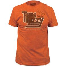 Thin Lizzy Concert T-Shirt - 1979 US Tour | Men's Vintage Orange Shirt - This burnt orange tshirt is from Thin Lizzy's 1979 concert performance tour of the US. Made from 100% cotton, this men's tee features burned out effects to the graphics for a true vintage look and feel.