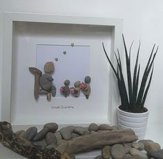 Mothers day gift, Family picture, pebble art, grandmother gift, granny gift, nanny frame, grandchildren gift, gift for mom, gift for nan by CoastalPebblesShop on Etsy