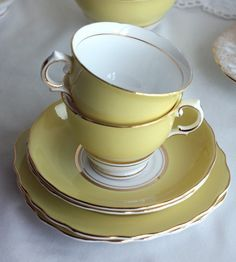 Yellow tea set from Etsy.