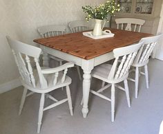 Country Farmhouse Table And Chairs Shabby Chic Kitchen Dining