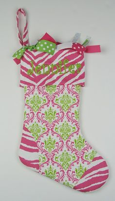 pink christmas stockings   Christmas Stocking - Lime-n-Hot Pink Lacework with Hot Pink Zebra