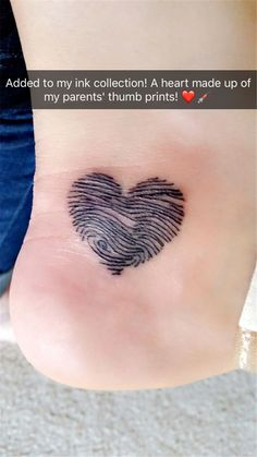 Tattoo heart made of my parents thumb prints! - Tattoo heart made of my parents thumb prints! Tattoo heart made of my parents thumb prints! Faith Tattoos, Mom Tattoos, Friend Tattoos, Cute Tattoos, Beautiful Tattoos, Body Art Tattoos, Thumb Tattoos, Mum And Dad Tattoos, Tatoos