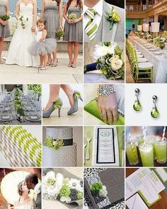 Green and white wedding