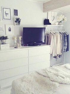 Image via We Heart It https://weheartit.com/entry/157733262/via/29738922 #bed #bedroom #black #blackandwhite #flowers #house #loveit #pic #plant #room #tv #wantit #white #dreambedroom