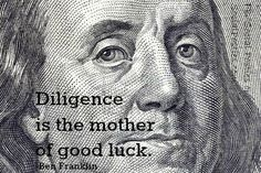 Ben Franklin, luck quote, #SocialPosties, http://www.socialposties.com