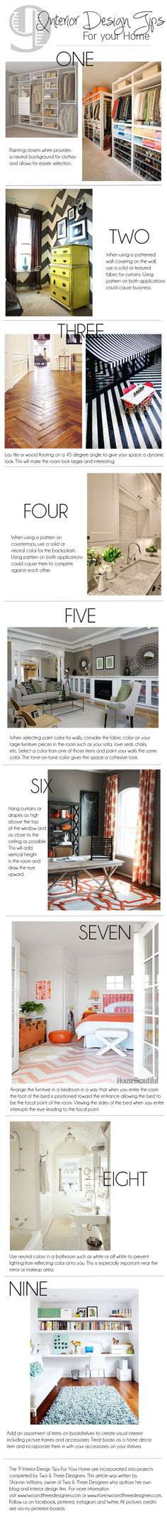 Some good tips for Home Staging, as well: 9 Interior Design Tips for your Home from Two & Three Designers.