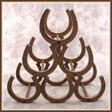 CAST IRON HORSESHOE WINE RACK ~ Rustic Western Décor ~