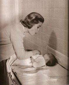 Princess Grace with infant Princess Caroline