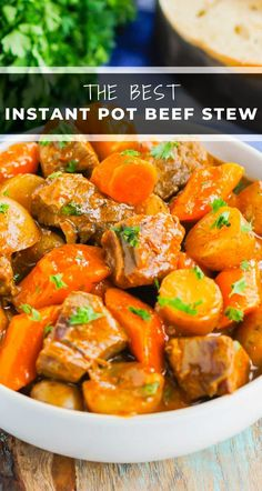 Instant Pot Beef Stew is a simple, hearty dish that's full of cozy flavors. Tender beef, potatoes and carrots are tossed in a savory gravy that's ready in less than an hour. This easy meal will quickly become a dinner time favorite all year long! #stew #beefstew #bestbeefstew #instantpotbeefstew #instantpotstew #beefstewrecipe #instantpotdinner #comfortfood #dinner #easydinner Pressure Cooker Beef Stew, Beef Stew Meat, Thanksgiving Side Dishes, Thanksgiving Recipes, Cooker Recipes, Beef Recipes, Easy Recipes, Cooking With Ground Beef, Slow Cooker Times