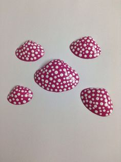Hand painted pink seashells with white by SheilasGardenGirls