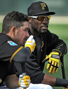 Matt Joyce, Starling Marte, PIT, Bradenton//Feb 23, 2016