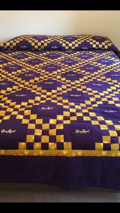 Cute Quilts, Boy Quilts, Scrappy Quilts, Crown Royal Quilt, Crown Royal Bags, Quilting Projects, Quilting Designs, Sports Quilts, Geometric Quilt