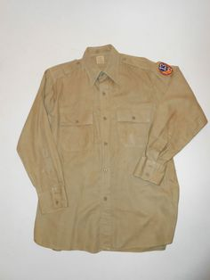 Vtg WWII US Army Officer Form Fit Cotton KHAKI MILITARY SHIRT S/M w/Arm Patch