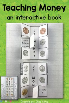 If you are planning a lesson on money (American Dollar), why not use this presentation resource ? Teachers will find everything they need to introduce USD : a powerpoint presentation, flashcards, an interactive book with all the coins (penny - dime - nickel - quarter ; obverse and reverse) and a focus on the one dollar bill. Link to a freebie included. 1st grade - 2nd grade - Primary school and ESL - middle school. Perfect for homeschooling too. Elementary Teacher, Primary School, Teaching Money, Teaching Ideas, American Dollar, Math Lesson Plans, Teacher Resources, Esl Resources, School Resources