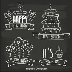 Insignias cumpleaños de pizarra Vector Gratis