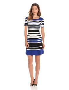 Bcbgmaxazria Women's Emmalie Striped A-line Dress, Royal Blue Combo, Small