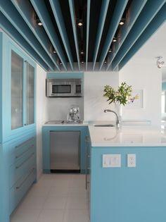Chelsea Pied a Terre design by Michael Rubin Architects Mini Loft, Light Blue Kitchens, Small Kitchens, Chelsea New York, Turquoise Kitchen, Apartment Design, Decoration, My Dream Home, Kitchen Design