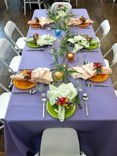 Kids table! Amethyst purple with our Rio Mango and Kiwi salad plates, topped with orange and celery colored Seersucker napkins! Add your own personal Easter touches to make a fun table for your kids!
