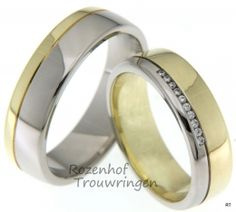 Een tweekleurig paar, deze ringen, welke vervaardigd zijn in glanzend witgoud en geelgoud. De trouwringen zijn 6 mm. breed. De dames trouwring is bezet met 10 briljant geslepen diamanten van 0,05 ct.