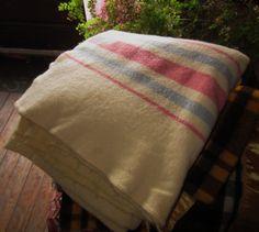 Cream Wool Blanket with Pastel Stripes by heydarlin on Etsy, $32.00