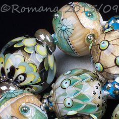 "Romana Lampwork Beads - ""Gold stones""  #LampworkBeads"