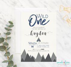 Wild One First Birthday, Wild One Party, Adventure Tribal Teepee Invitation, First Birthday, Arrrow, Mountains, 1st birthday, Printable, Boy by SarahFinnDesign on Etsy