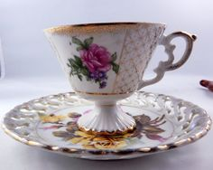 Royal Sealy Roses Mismatched Tea Cup & Saucer by ZeldasCottage