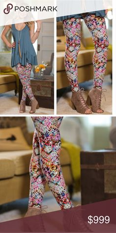 Coming soon! Colorful Aztec Print Leggings Buttery soft stretch leggings! You will want to LIVE in these! Beautiful Aztec Print! Lots of color means lots of style choices! 92% polyester 8% Spandex. One size (fits size 2-12 comfortably)  Tank that is modeled with leggings is also for sale but I only have one in each of 3 sizes (S,M,L) available in the tank. Infinity Raine Pants Leggings