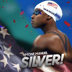 """#SILVER for @simone_manuel in the women's 50m free! #Rio2016"""