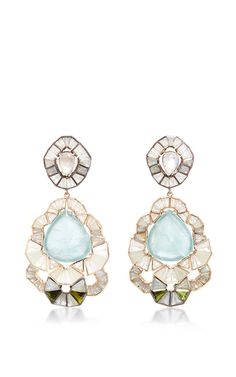 Aquamarine Ruffled Drop Earrings by NAK ARMSTRONG for Preorder on Moda Operandi