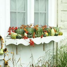 Fill planter boxes with gourds and berries