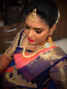 Our would-be bride Monisha looks breathtakingly gorgeous for her Haldi ceremony. Hair and makeup by Vejetha for Swank. South Indian bride. Indian bridal makeup. Pink matte lips. Bridal MUA in Bangalore. Bridal silk saree. Sari blouse design. Eyebrows on fleek. Bridal jewellery. Bridal updo. Bridal hairstyle.
