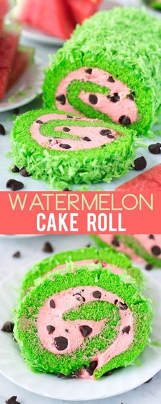 This summer watermelon cake roll would be so fun to include at a watermelon themed food party! Cake Roll Recipes, Best Dessert Recipes, Easy Desserts, Delicious Desserts, Yummy Food, Summer Cakes, Cupcake Cakes, Cupcakes, Cupcake Ideas