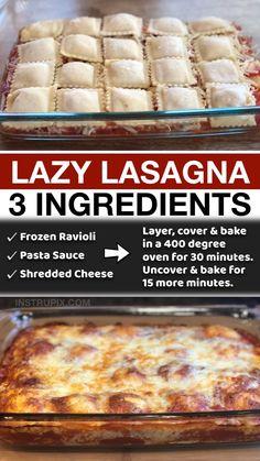 Italian Recipes, Crockpot Recipes, Cooking Recipes, Italian Dishes, Easy Casserole Recipes, Ravioli Casserole, Ravioli Lasagna, Ravioli Bake, Easy Lasagna Recipe