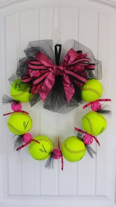 Cute softball wreath!!! Check out this item in my Etsy shop https://www.etsy.com/listing/240413481/softball-wreath-the-perfect-softball