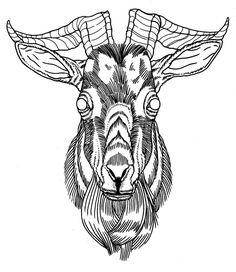 Goat Head Grey Ink Tattoo Design