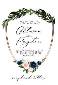 Bridal Navy Flower Crest - Wedding Invitation #invitations #printable #diy #template #wedding Free Wedding Invitations, Navy Flowers, You Are Invited, Response Cards, Create Yourself, Reception, Printable, Island, Bridal