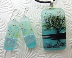 Aqua Shimmer Dangles, Fused Glass Jewelry Handmade in NC. $28.00, via Etsy.