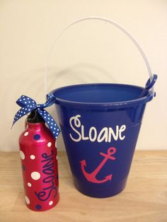 Gift setPersonalized sand pail bucket with shovel by DeLaDesign, $22.00