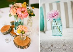 - - - up in the clouds : wedding post #3: mason jar centrepieces!
