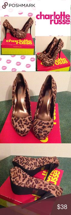 Charlotte Russe Cheetah Print Heels 👠 Wear them to add a statement finish to an all-black look! Charlotte Russe Shoes Heels