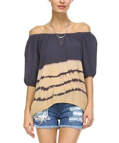 Look at this Charcoal & Beige Tie-Dye Off-Shoulder Top on #zulily today!