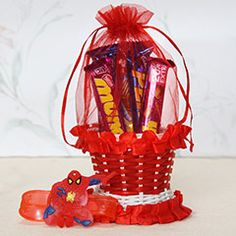 Buy cute Kids rakhi to with chocolate basket for little bro.