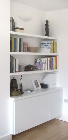New Living Room Modern Ikea Shelves 64 Ideas Ikea Storage Shelves, Alcove Shelving, Dining Room Storage, Office Storage, Storage Stairs, Dining Rooms, Kitchen Storage, Storage Drawers, Cabinet Storage